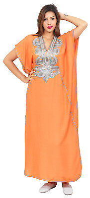Moroccan Women Caftan Muslim Long Dress Casual Kaftan Abaya Cotton Orange