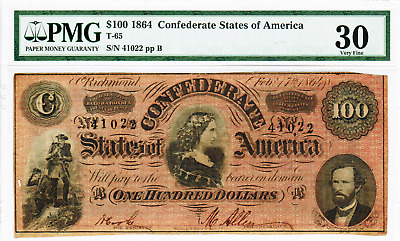 1864 - $100 Confederate States Of America -  T-65-4 Red Variety Vf30 Pmg
