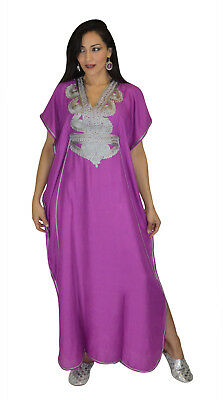 Moroccan Women Caftan Muslim Long Dress Casual Kaftan Abaya Cotton Purple