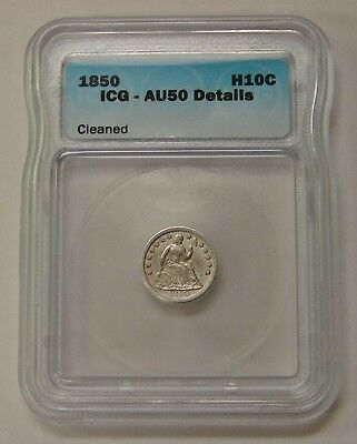 1850 - Seated Liberty Half Dime - ICG AU 50 Details