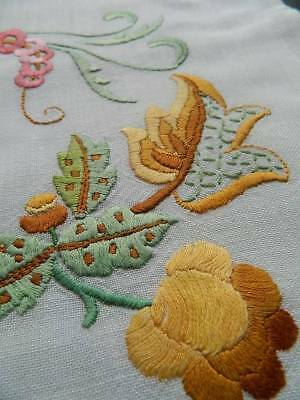 Vintage hand embroidered Jacobean design Tree of Life cushion cover. #D