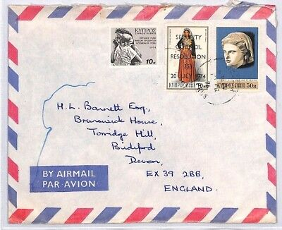 BQ109 1976 Cyprus Devon Great Britain Airmail Cover {samwells} PTS