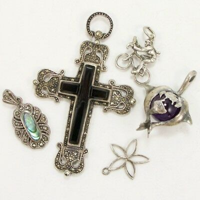 VTG Sterling Silver - Lot of 5 Cross Bicycle Charm Pendants NOT SCRAP - 24g