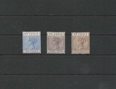 St.lucia 1891 Three Mounted Mint Stamps Sg 45, 47-48 Cat £24