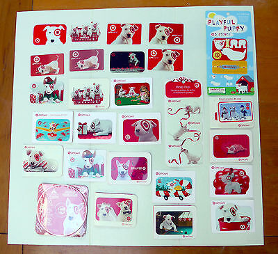 Target Bullseye Lot Bull Terrier Dogs Gift Cards (No Value) Advertising