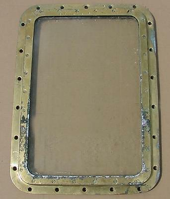 """AUTHENTIC BRASS PORTHOLE FIXED DEADLIGHT 29""""x21"""" - FROM TEXACO ROCHESTER TANKER"""