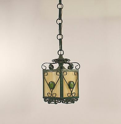 Antique 1 Light French Green Wrought Iron Lantern w/ Caramel Slag Glass
