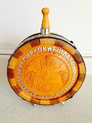 """Vintage Steel and Wood Carved Russian Canteen, 8"""" Diameter"""