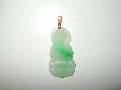 FINE VTG CHINESE STERLING SILVER CARVED JADEITE JADE KWAN YIN BUDDHA PENDANT 14g