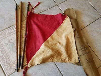 """WW2 US Army WWII Signal Corps Flag Kit With 25"""" Canvas Bag VINTAGE SURPLUS RARE"""