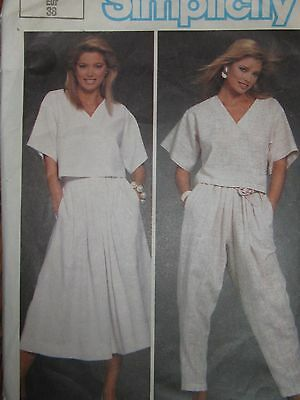 6742 Vintage Simplicity Sewing Pattern Misses EASY TO SEW Top Pants Skirt Sz 10
