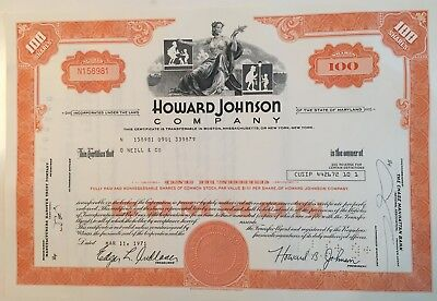 Howard Johnson Company...stock Certificate...1970...