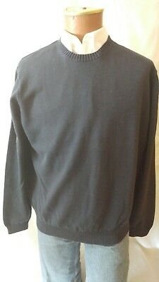 3817beee Men's Brooks Bros 100% Pima Cotton Crewneck Navy Blue Sweater Large