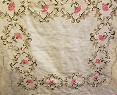 """Vintage Hand Embroidered 33"""" X 33"""" offwhite PINK FLOWER Tablecloth SCALLOPED edg"""