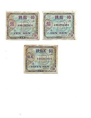 Japan Military Currency series 100 area b-3 notes