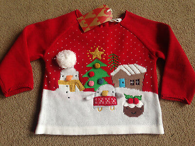 BNWT NEXT Red Embroidered Applique Penguin Snowman Christmas Pudding Jumper