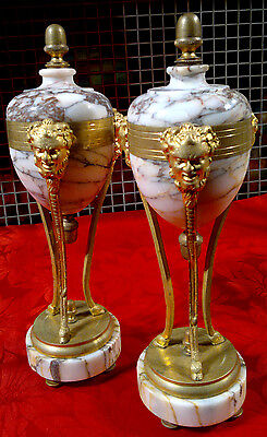 "Pair of Antique French Marble Cassolettes with Ormolu Bronze Mounts 12.25"" Tall"