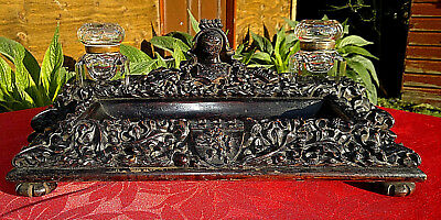 Antique English Carved Oak Inkstand Inkwell Cut Crystal Ink Bottles & Pen