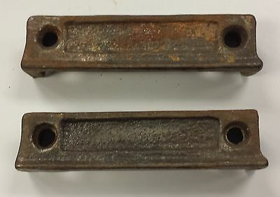 PAIR Cast Iron Door Rim Lock Keeper Keep Catch Strike Plate 3 1/2 ""