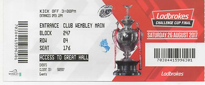 2017-Hull Fc V Wigan-26/8/17-Rugby League Challenge Cup Final Match Ticket