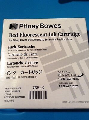 New genuine Pitney Bowes 765-3 Red Fluorescent Ink Cartridge for DM230 and DM330