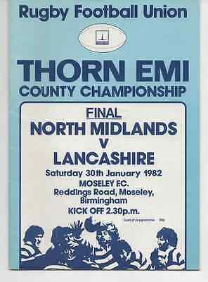 1982-North Midlands V Lancashire-County Championship Final Rugby Union Programme