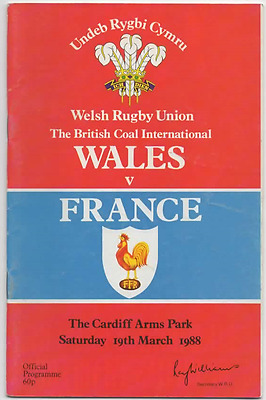 1988 Wales V France-Five Nations Champions-International Rugby Union Programme