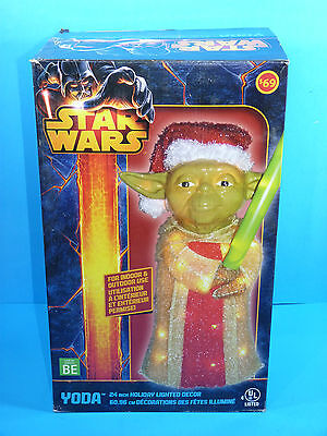 Star Wars YODA 24 inches Holiday Christmas Lighted Decor Tinsel Indoor Outdoor