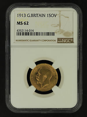 1913 Great Britain Gold Sovereign NGC MS-62 -162899