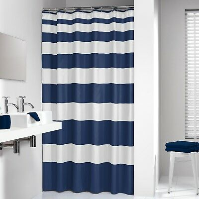 Extra Long Shower Curtain 72 X 78 Inch Sealskin Nautica Stripes Blue And White F