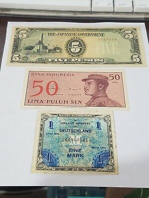 Lot Of 3 Bills German Deutsche Mark, Bank Of Indonesia 50 Sen And Japanese...