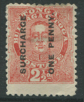 """Tonga 1895 2 1/2 dull rose """"Surcharged One Penny"""" unused no gum"""