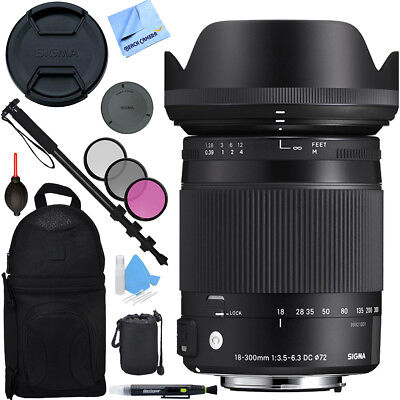 Sigma 18-300mm F3.5-6.3 DC Macro OS HSM Lens (Contemporary) Nikon DX Bundle