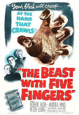The Beast With Five Fingers Movie Poster Print - 1946 - Horror - 1 Sheet Artwork