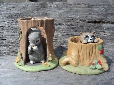 Woodland Surprises Franklin Porcelain Lot of 2 Squirrel & Raccoon 1984