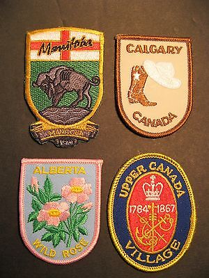 Travel Patches  4 Canada Alberta Manitoba Calgary Upper Canada Ontario Sewing