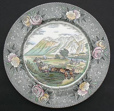 """Adams 10.5"""" Plate """"american Ways & Days"""" Currier """"the Rocky Mountains"""" England"""