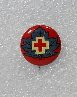 Vintage Red Cross Maple Leaf Pinback Button Pin