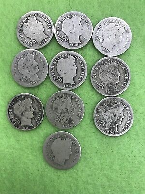 Lot Of 10 Barber Dimes  90% Silver