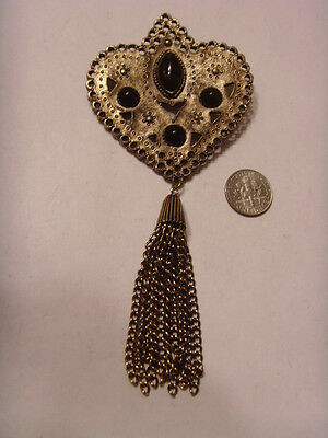 1950s vintage extra large crown heart western america lariat brooch retro 46346