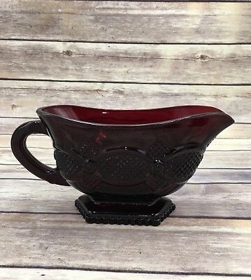 "Avon Vintage 1876 Ruby Red Glass Gravy Boat Cape Cod 8 3/4"" X 4""  NO BOX"