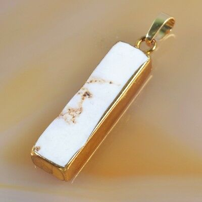White Howlite Turquoise Bar Pendant Bead Gold Plated B047810