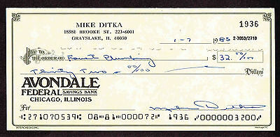 MIKE DITKA SIGNED  1985 Check