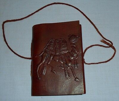 Vtg Tooled Leather Cover Notebook Travel Journal Diary Camel