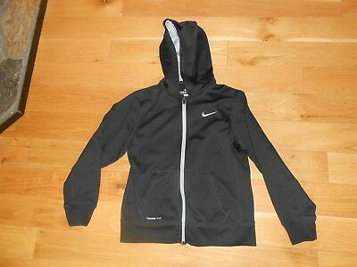 """Nike Black  """"therma-Fit"""" Long Sleeve Zip Front Hoodie Size Large"""