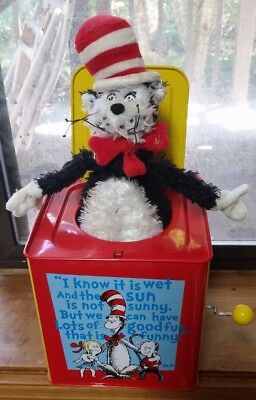 """Schylling Dr. Suess The Cat in the Hat Jack in the Box  """"Pop Goes The Weasel"""""""