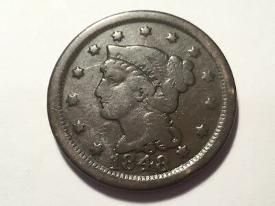 "1848 US ""Braided Hair"" Large one cent coin.   169 years old."