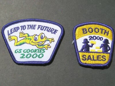 Girl Scouts 2 Booth Sales 2000 & Leap To The Future Embroidered Patches Brownies