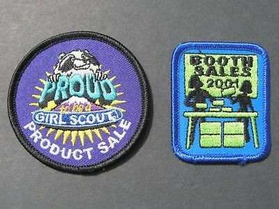Girl Scouts 2 Booth Sales 2001 & Proud Product Sale Embroidered Patches Brownies