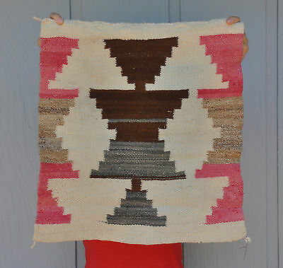 Old Navajo Indian Sampler Rug - Stepped Hourglass In Cream Browns Red  21 X 19